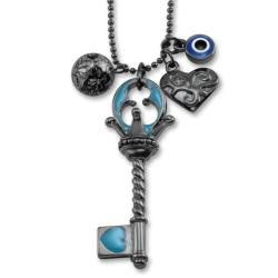West Coast Jewelry Dark Metal Multi Charm Light Blue Key Necklace
