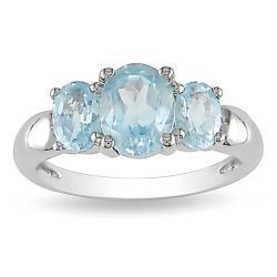 Sterling Silver Blue Topaz 3-stone Fashion Ring
