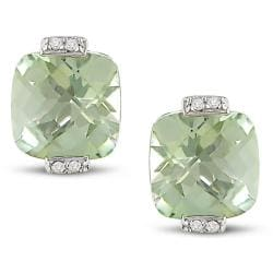 Miadora 10k White Gold Green Amethyst and Diamond Earrings