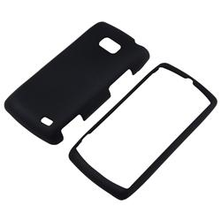 Black Rubber Coated Case/ Screen Protector for LG VS740 Ally