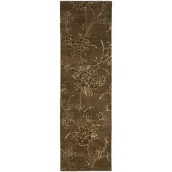 Handmade Soho Fall Brown New Zealand Wool Runner (2'6 x 12')