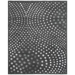 Handmade Soho Deco Wave Dark Grey N. Z. Wool Rug (9'6 x 13'6)