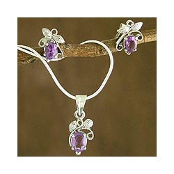 Sterling Silver 'Mauve Blushing Leaves' Amethyst Jewelry Set (India)