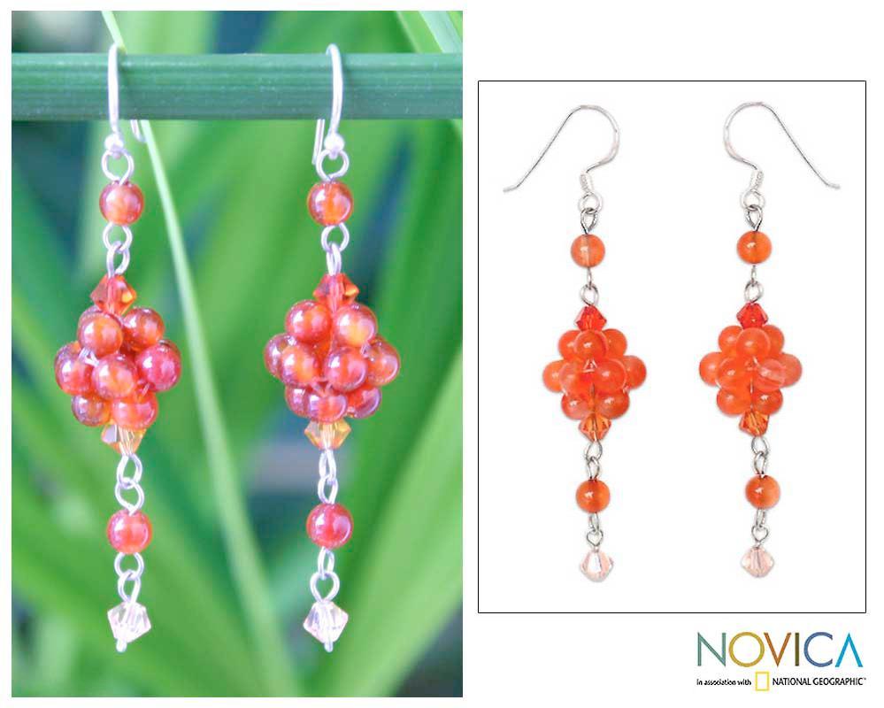Sterling Silver 'Enchanted Bloom' Carnelian Earrings (Thailand)