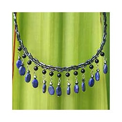 Raindrops Blue Lapis Lazuli Pendants and Glass Beads Cascade Adjustable Contemporary Womens Waterfall Necklace (Thailand)