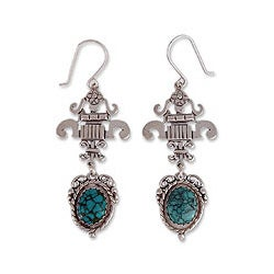 Handcrafted Sterling Silver 'Union' Turquoise Earrings (Mexico)