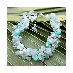 Multi-gemstone 'Sensation' Pearl Bracelet (8 mm) (Thailand)