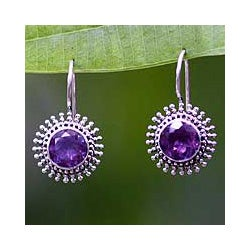 Sterling Silver 'Radiant Sunbeams' Amethyst Earrings (Indonesia)