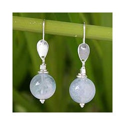 Sterling Silver 'Serenity' Aquamarine Dangle Earrings (Thailand)