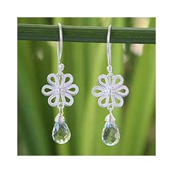 Sterling Silver 'Daisy Dreams' Prasiolite Flower Earrings (Thailand)