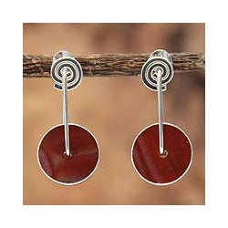 Sterling Silver 'Magic Circle' Carnelian Earrings (Peru)