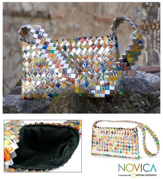 Recycled Metalized Wrapper 'Eco Cheer' Medium Shoulder Bag (Guatemala)