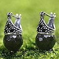 Sterling Silver 'Honeycomb' Onyx Earrings (Indonesia)