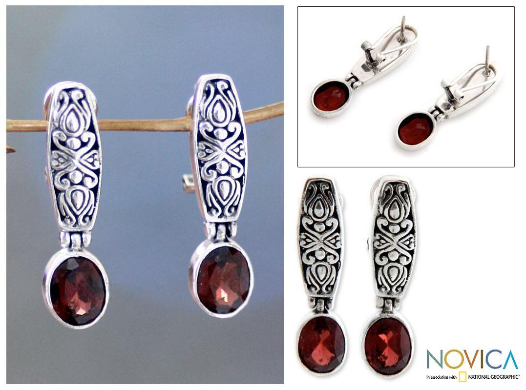 Sterling Silver 'Pura Dalem' Garnet Earrings (Indonesia)