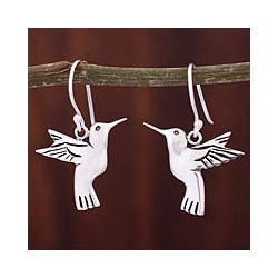 Silver 'Hummingbird Secrets' Earrings (Mexico)