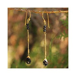 Gold Overlay 'Lanna Chimes' Onyx Dangle Earrings (Thailand)