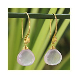 Gold Overlay 'Sublime Elegance' Rose Quartz Earrings (Thailand)