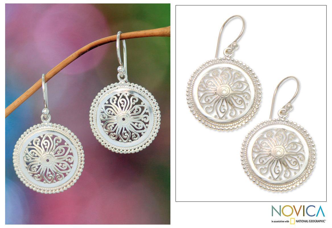 Sterling Silver 'Paradise Bloom' Earrings (Indonesia)