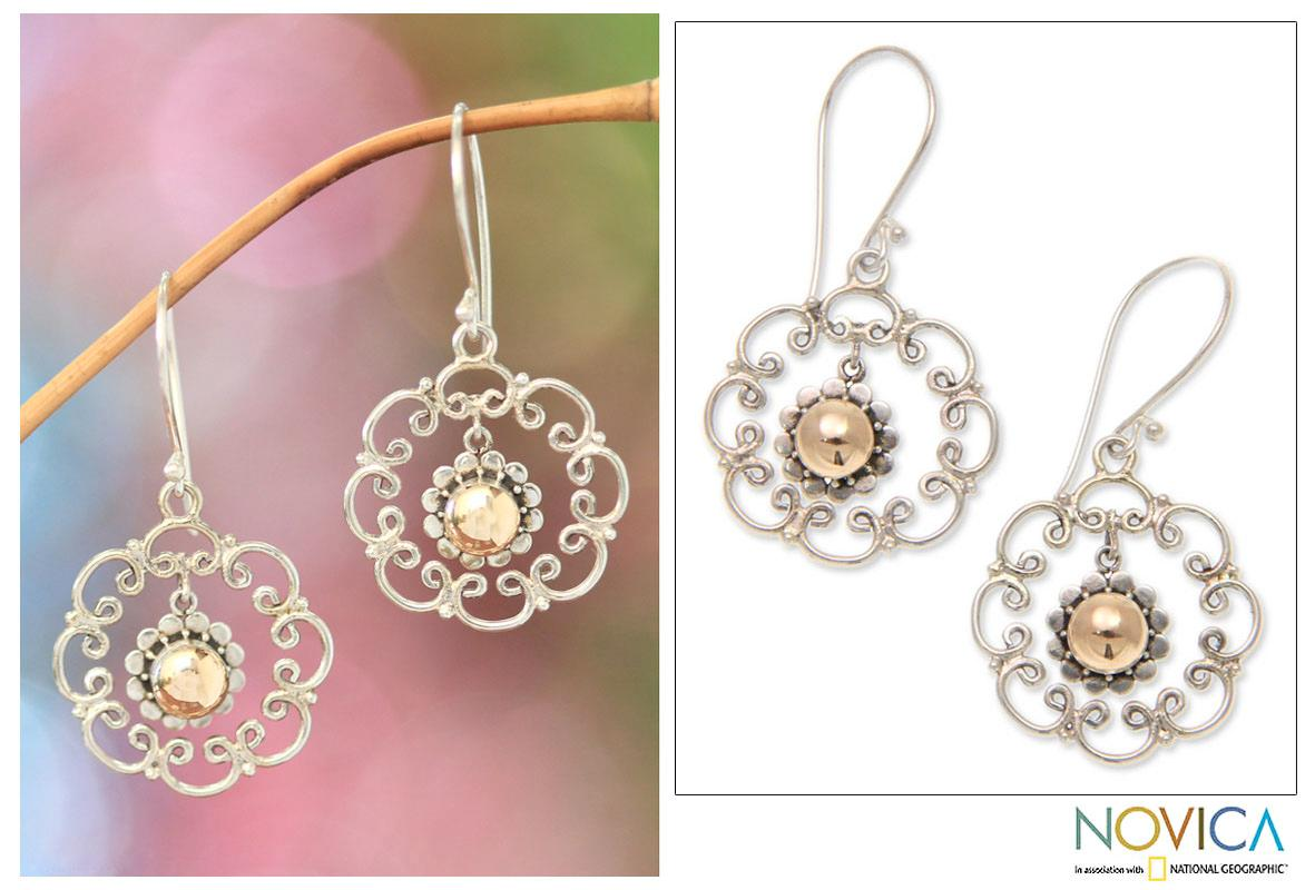 Gold Overlay 'Delightful Denpasar' Earrings (Indonesia)