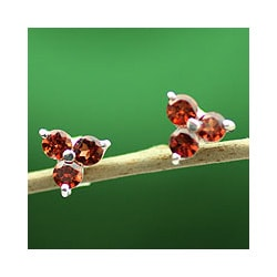 Sterling Silver 'Chennai Stars' Garnet Earrings (India)