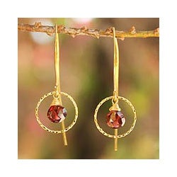 Gold Overlay 'Rose Dreamer' Garnet Dangle Earrings (Thailand)