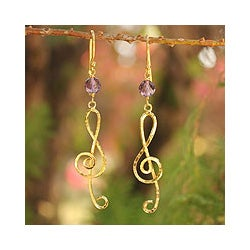 Gold Overlay 'Thai Melody' Amethyst Earrings (Thailand)