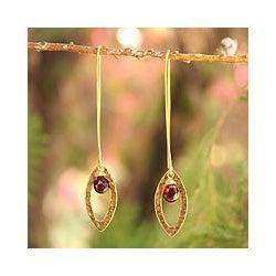 Gold Overlay 'Petal' Garnet Dangle Earrings (Thailand)