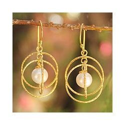 Gold Overlay 'Lanna Enigma' Pearl Earrings (7-7.5 mm) (Thailand)