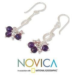Sterling Silver 'Dancer' Amethyst and Pearl Earrings (3 mm) (Thailand)