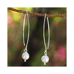 Sterling Silver 'Precious White' Pearl Earrings (6.5-7 mm) (Thailand)
