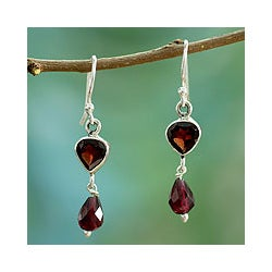 Sterling Silver 'Fire of Love' Garnet Dangle Earrings (India)