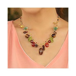 Multi-gemstone 'Jungle Fruit' Pearl Necklace (6.5-8 mm) (Thailand)