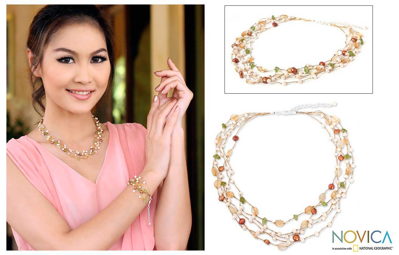 Multi-gemstone 'Awakening' Pearl Necklace (3.5-7.5 mm) (Thailand)