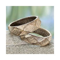 Set of 2 Mango Wood 'Vintage Forest' Bangle Bracelets (India)