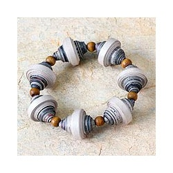 Recycled Paper 'Golden Dawn' Stretch Bracelet (Ghana)