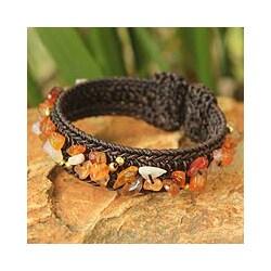 Handcrafted Brass 'Sunny Day' Carnelian Bracelet (Thailand)