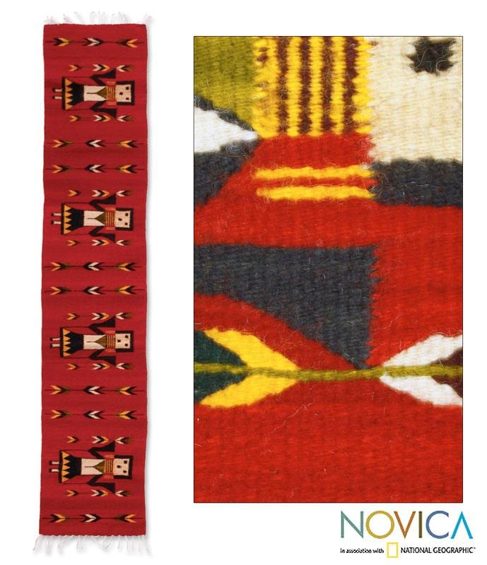 Handcrafted Wool 'Women of Oaxaca' Red Zapotec Rug1.5x6.5 (Mexico)