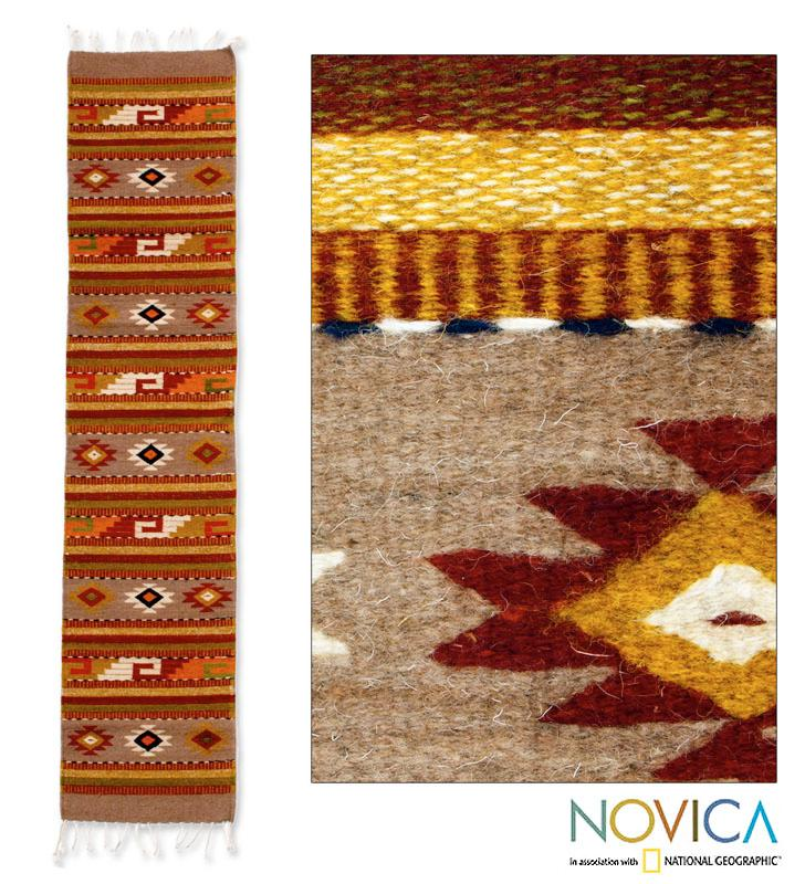 Handcrafted Wool 'Earth Horizon' Brown Zapotec Rug (1.5x6.5) (Mexico)