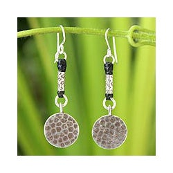 Handcrafted Silver 'Tribal Moons' Earrings (Thailand)