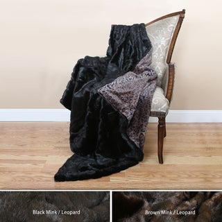 Wild Mannered Mink and Leopard Faux Fur Oversized Throw Blanket