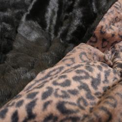 Wild Mannered Mink and Leopard 58 x 60 Faux Fur Throw Blanket