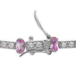 Tressa Sterling Silver Pink and White Cubic Zirconia Tennis Bracelet