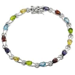 Tressa Silver Multi-color Pear-cut Cubic Zirconia Tennis Bracelet
