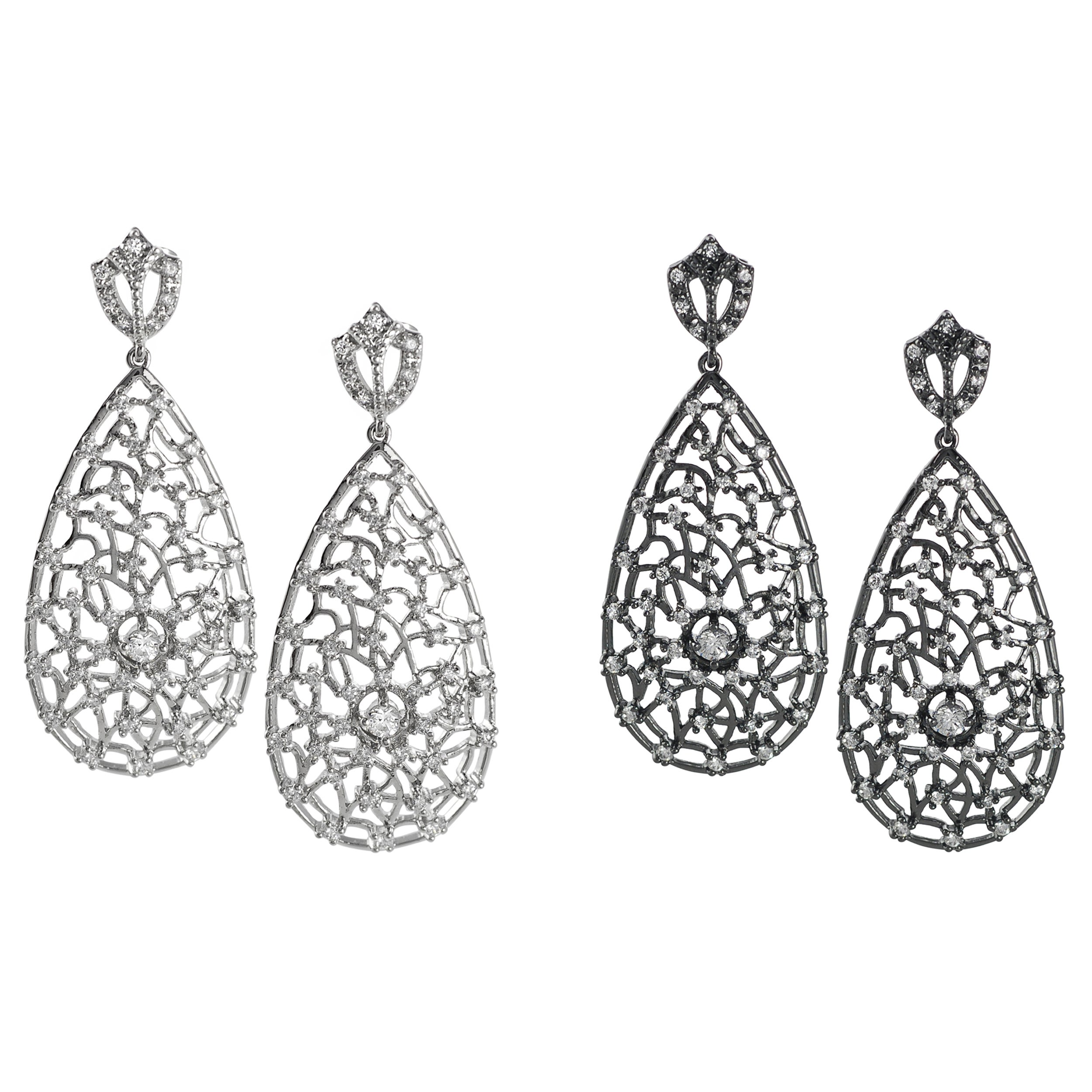 Journee Collection Sterling Silver White Cubic Zirconia Lace Web Tear Drop Earring