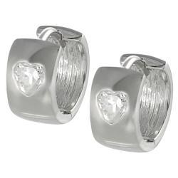 Tressa Sterling Silver White Cubic Zirconia Heart Mini Hoop Earrings