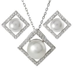 Journee Collection  Sterling Silver Cubic Zirconia Faux Pearl Necklace Earring Set