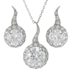 Journee Collection Sterling Silver Cubic Zirconia Drop Necklace and Earring Set