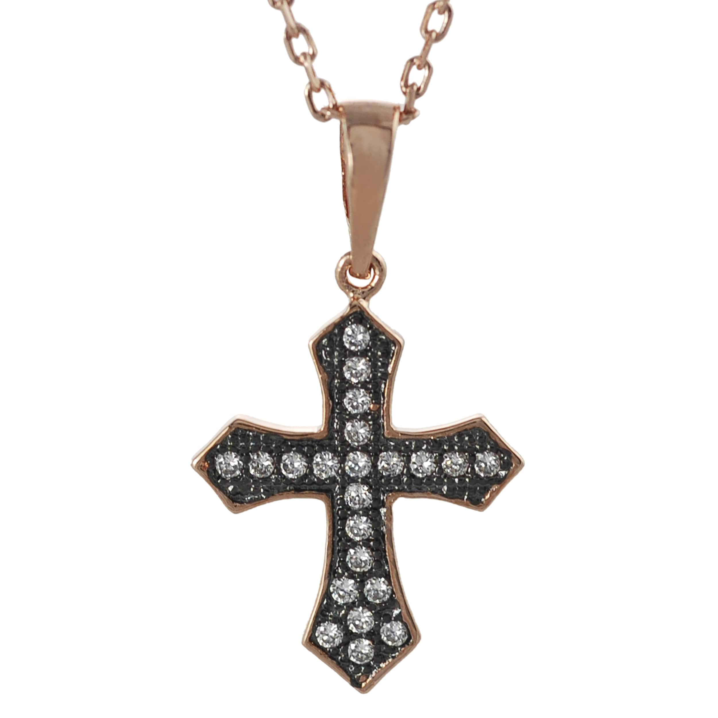 Journee Collection Rose Gold-plated Silver Cubic Zirconia Rhodium Cross Necklace