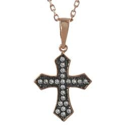 Tressa Rose Gold-plated Silver Cubic Zirconia Rhodium Cross Necklace