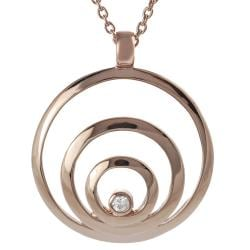 Tressa Rose Gold-plated Silver White Cubic Zirconia Circles Necklace